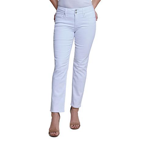 "Seven7 29"" High-Rise Double Button Tummyless Straight Jean - Ice White"