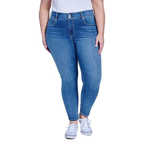 Seven7 High-Rise Tummyless Double Button Skinny Jean - Stupendous