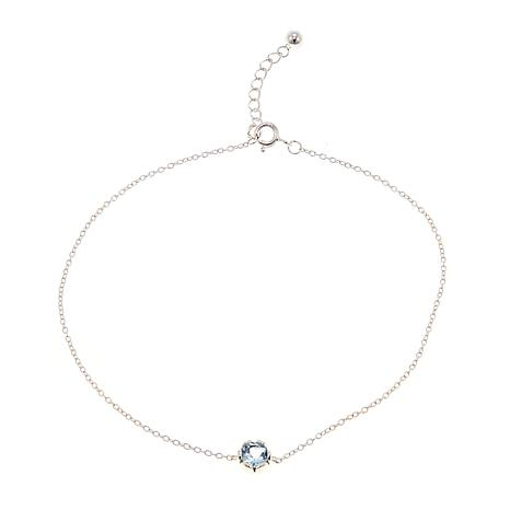 Sevilla Silver™ 0.6ct Blue Topaz Solitaire Anklet