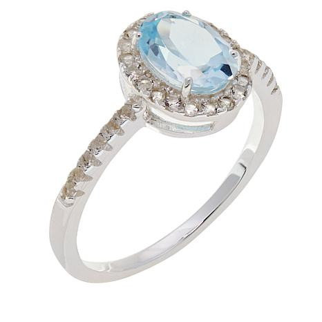 Sevilla Silver™ 1.35ctw Blue and White Topaz Ring