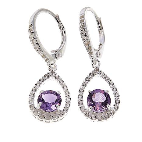 Sevilla Silver™ 1.79ctw Amethyst and White Topaz Frame Drop Earrings