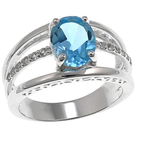 Sevilla Silver™ 2.02ctw Blue and White Topaz 3-Row Ring