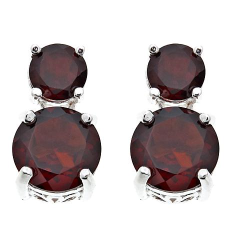 Sevilla Silver™ 2.27ctw Round Garnet Double Drop Earrings