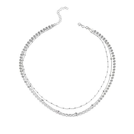 """Sevilla Silver™ 3-Row Layered Fancy Chain 17"""" Necklace"""