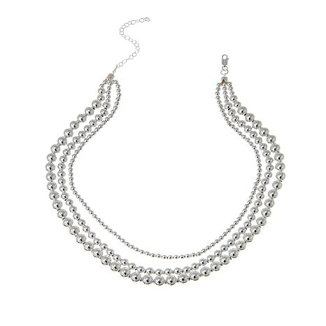"Sevilla Silver™ 3-Row Layered Graduated Bead 16"" Necklace"