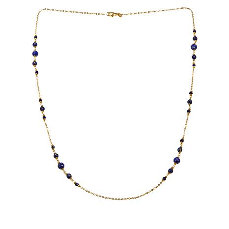 "Sevilla Silver™ 34"" Gold-Plated Rolo Chain Necklace with Lapis Beads"