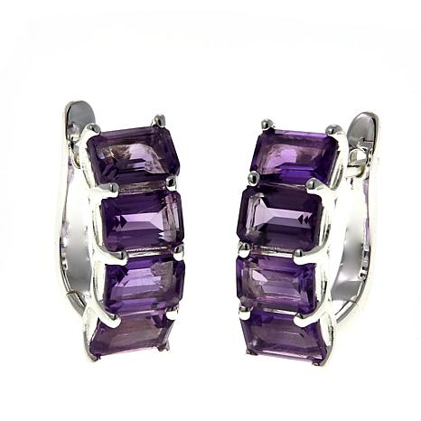 Sevilla Silver™ 4.16ctw Emerald-Cut Amethyst Hugger Hoop Earrings