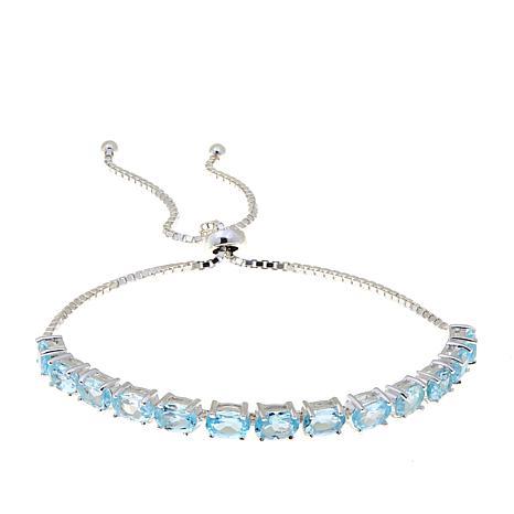 Sevilla Silver™ 6.5ctw Blue Topaz Adjustable Bracelet