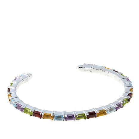Sevilla Silver™ 9.01ctw Multigemstone Flex Bangle Bracelet