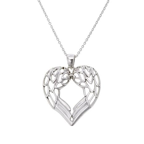 "Sevilla Silver™ ""Angel Wing"" Heart Pendant with Chain"
