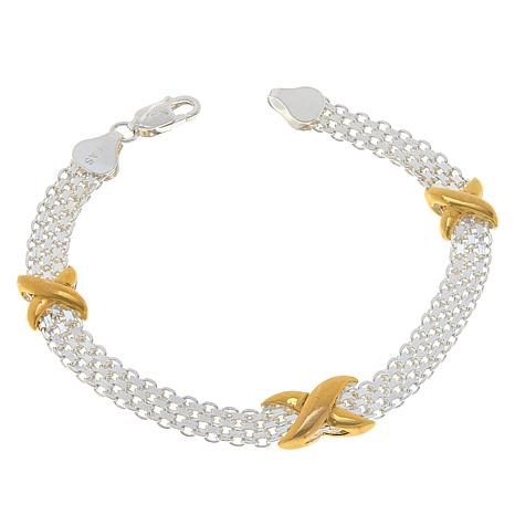 """Sevilla Silver™ Bismark Chain Bracelet with Gold-Plated """"X"""" Stations"""