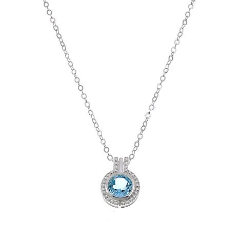"Sevilla Silver™ Blue Topaz Diamond-Accented Pendant with 18"" Chain"