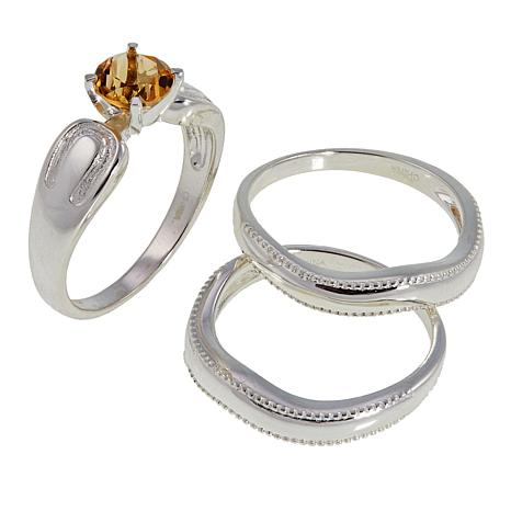 Sevilla Silver™ Citrine 3-piece Ring Set