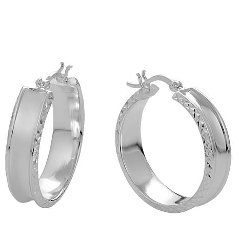 Sevilla Silver™ Concave Hoops with Diamond Cut Edges