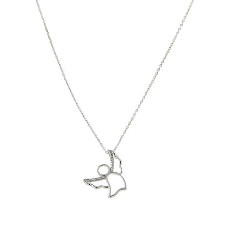 "Sevilla Silver™ Diamond-Accented Angel Pendant with 18"" Chain"