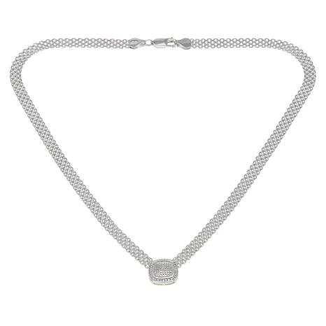 Sevilla Silver™ Diamond-Accented Cushion Drop Necklace with Gift Box