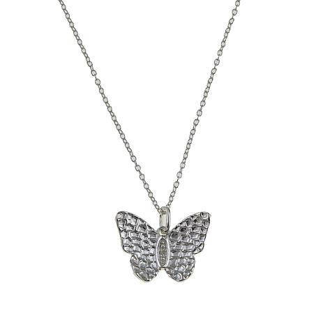 Sevilla Silver™ Diamond-Accented Hammered Butterfly Pendant with Chain
