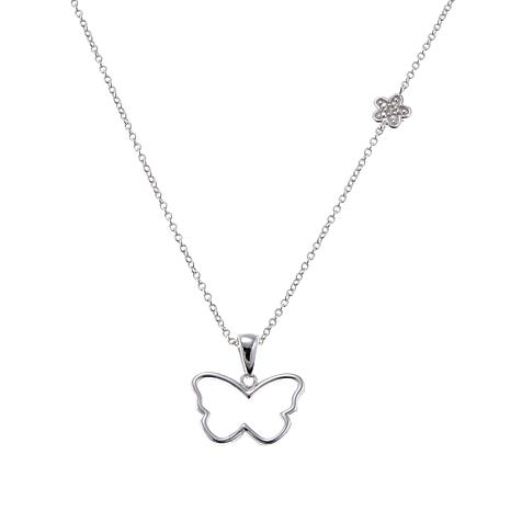 "Sevilla Silver™ Diamond-Accented Open Butterfly 18"" Necklace"