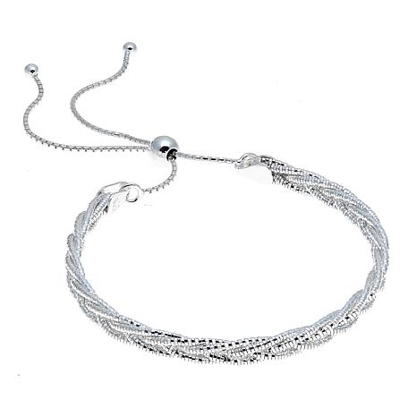 Sevilla Silver™ Diamond-Cut Braided Omega Chain Adjustable Bracelet