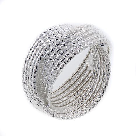 Sevilla Silver™ Diamond-Cut Crossover Ring