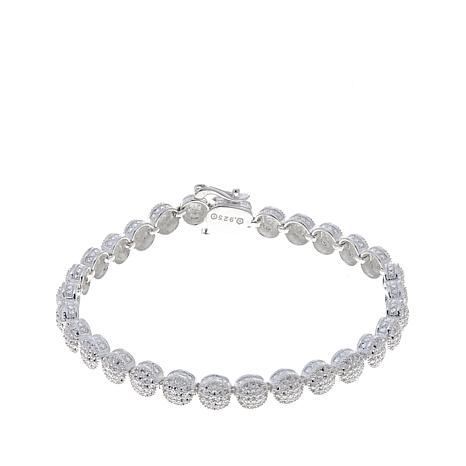 Sevilla Silver™ Diamond-Pressed Round Station Bracelet