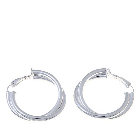Sevilla Silver™ Double Twist Clip-On Hoop Earrings
