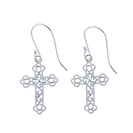 Sevilla Silver™ Filigree Cross w/Beaded Border Earrings
