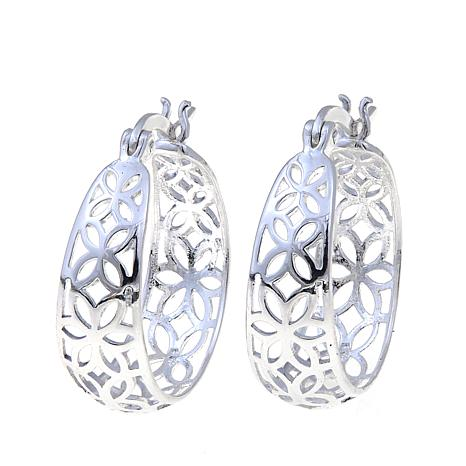 Sevilla Silver™ Filigree Flower Hoop Earrings