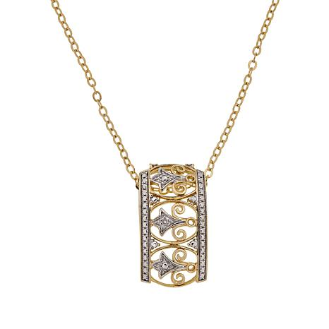 Sevilla Silver™ Gold-Plated Diamond-Accented Slide Pendant with Chain