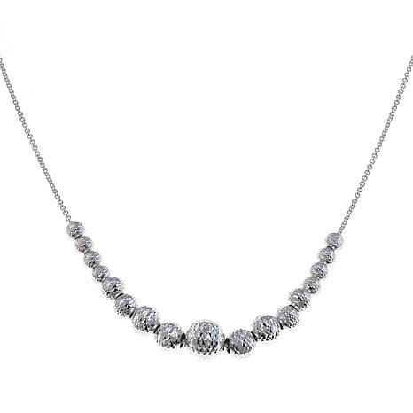 "Sevilla Silver™ Graduated 8mm Diamond-Cut Bead 18"" Necklace"