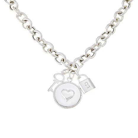 Sevilla Silver™ Heart, Lock and Key Charm Necklace