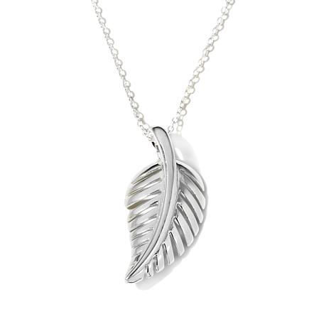 "Sevilla Silver™ Leaf Pendant with 18"" Chain Necklace"