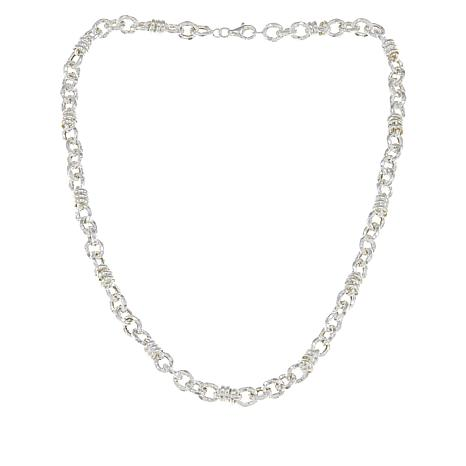 Sevilla Silver™ Polished and Textured Rolo Station Necklace