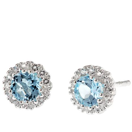 Sevilla Silver Round Sky Blue Topaz And White Stud Earrings