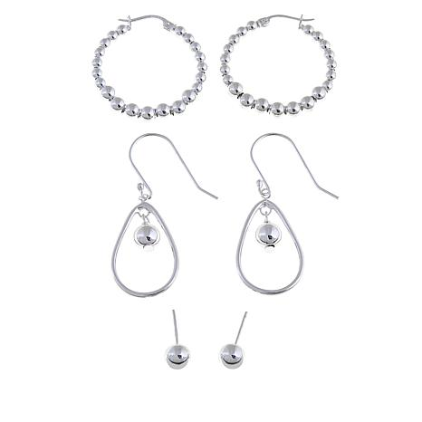 Sevilla Silver™ Set of 3 Bead Earrings