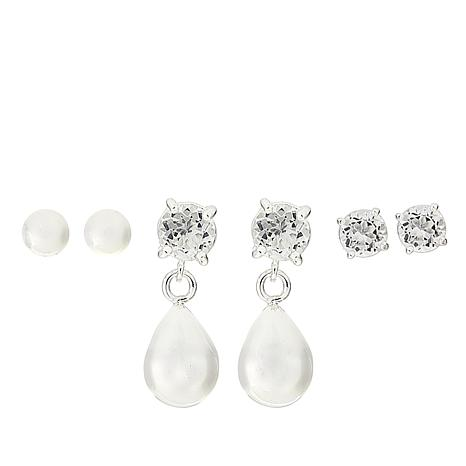 Sevilla Silver™ Set of 3 Classic Earrings with White Topaz
