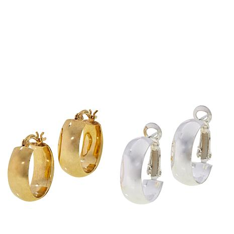 Sevilla Silver™ Sterling Silver and Gold-Plated Hoop Earring Set