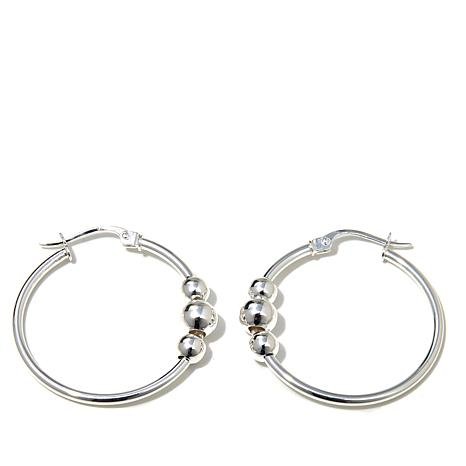 Sevilla Silver™ Vertical Beaded Hoop Earrings