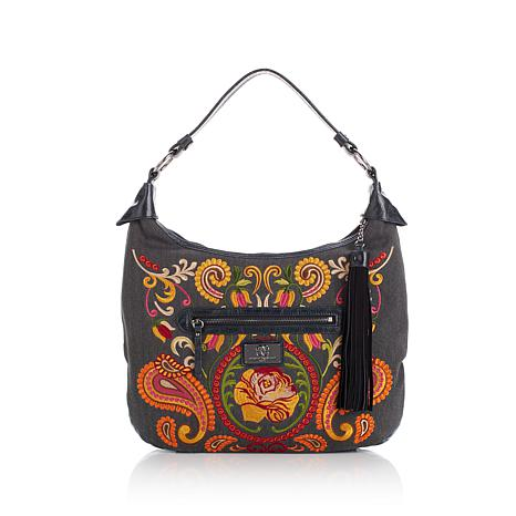 Sharif Embroidered Hobo Bag with Leather Trim - 8046108 | HSN