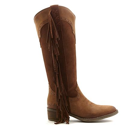Sheryl Crow Bronco Leather and Suede Fringed Boot
