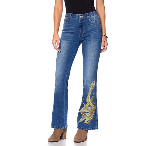 Sheryl Crow Dragon Embroidered Flare Jean