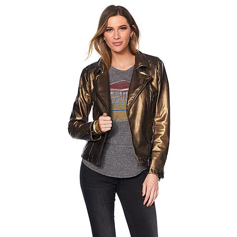 Sheryl Crow Faux Leather Metallic Eagle Moto Jacket