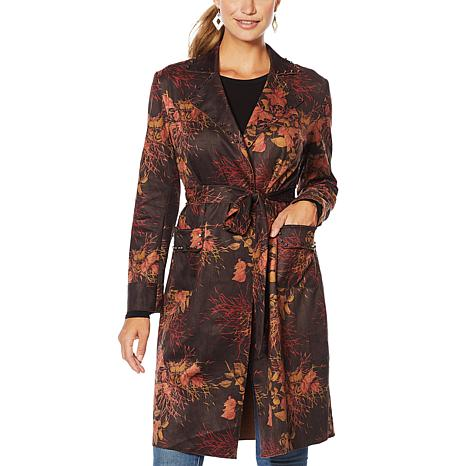 Sheryl Crow Faux Suede Studded Wrap Trench