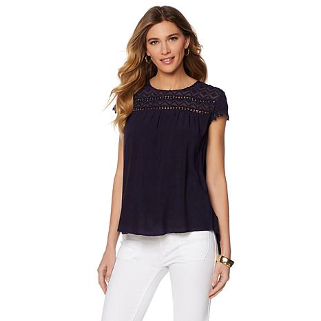 Sheryl Crow Oil Washed Top with Crochet Lace Trim