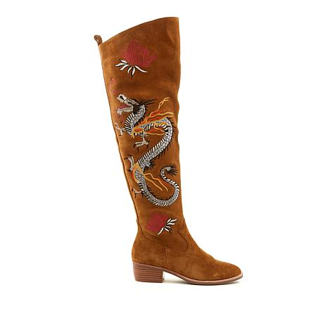 Sheryl Crow Suede Over-the-Knee Dragon Boot