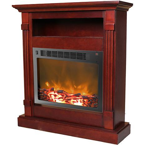 Sienna Fireplace Mantel w/Electronic Fireplace Insert