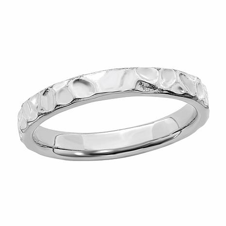 Simply Stacks™ Sterling Silver Stackable Dimpled Band Ring
