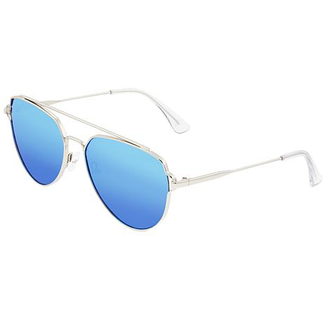 Sixty One Nudge Polarized Sunglasses - Silver Frames and Blue Lenses