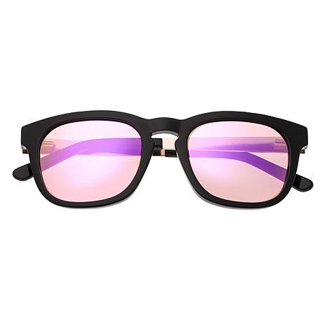 Sixty One Twinbow Polarized Sunglasses - Black Frame/Light Pink Lenses