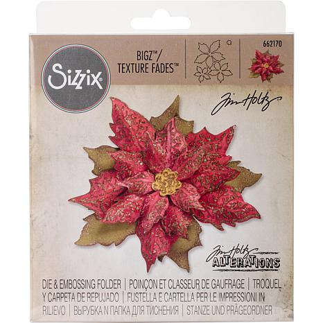 Sizzix Bigz Die with Texture Fades  - Layered Tattered Poinsettia
